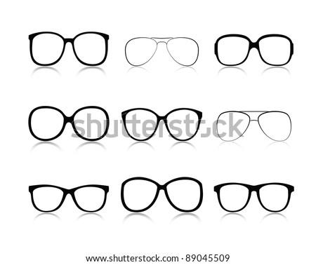 Vector icons set black Eye glasses a white background - stock vector