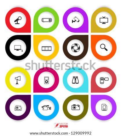 vector icons set color full - stock vector