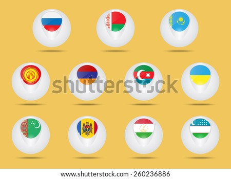Vector icons set. Creative ball shaped icons. Advertise states  members of the CIS. Commonwealth of Independent States. - stock vector