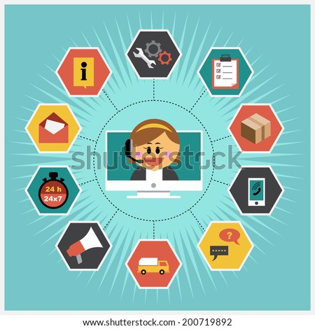 Vector Icons set flat design about workflow customer service system concepts - stock vector
