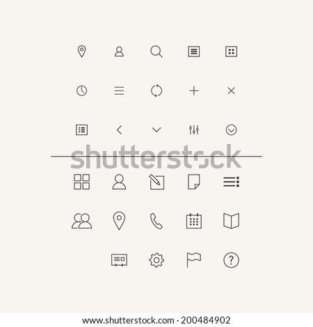 Vector Icons Set in Flat Style - stock vector