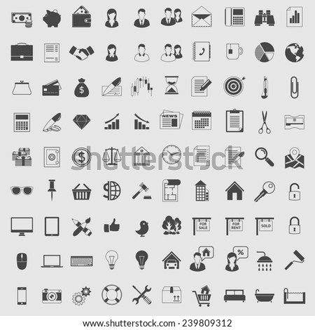 Vector Icons set in one color for web and applications. Dark on light.