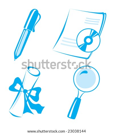 vector icons set: lupa, document, diploma, pen, disk - stock vector