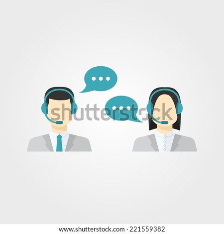 Vector icons set Male and female call center avatars in a flat style with a headset,color speech bubbles conceptual of communication, client services, telemarketing,business - stock vector