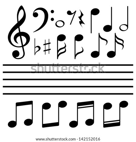 Vector icons set music note - stock vector