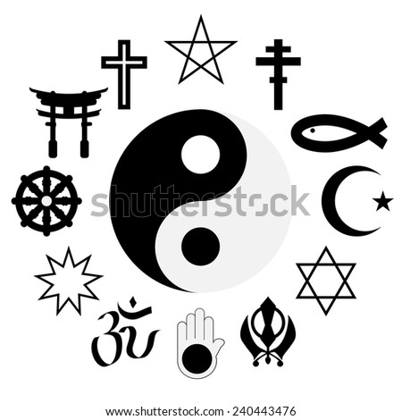 Vector icons. Set of black and white characters popular religions and creeds of the world. - stock vector
