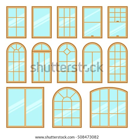 Vector icons set different types windows stock vector for Architecture windows