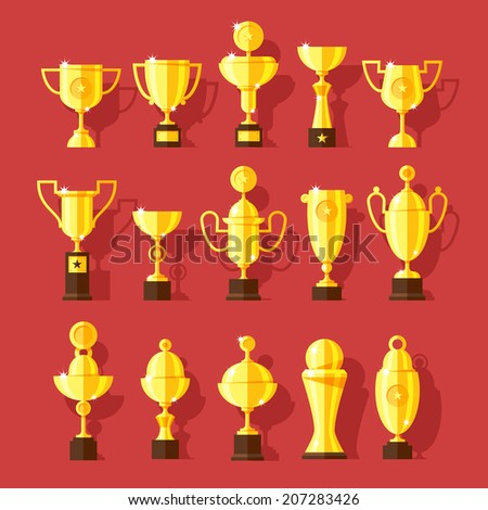 Vector icons set of golden sport award cups in modern flat style. - stock vector
