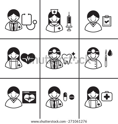 Vector icons set of medical employees - stock vector