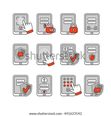 Vector icons set of mobile security. Smartphone security concept. Password key and lock on smartphone. Signs to protect the phone. - stock vector