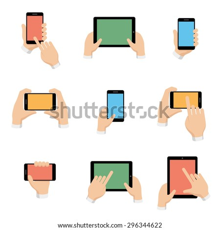 Vector icons set of smartphone and tablet in hands in flat design style. Internet and communication, phone and smartphone, digital screen illustration - stock vector