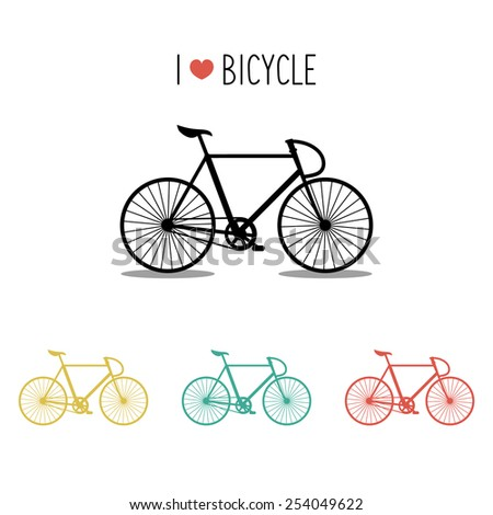 Vector icons set of urban hipster bicycle in trendy flat style with text I Love Bicycle - stock vector