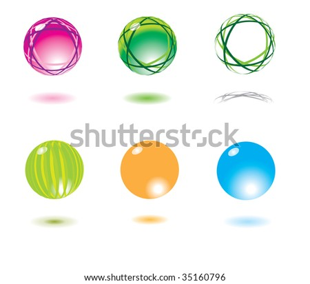 vector icons set: Refracting spheres (set 2) Please visit my portfolio to see similar! - stock vector