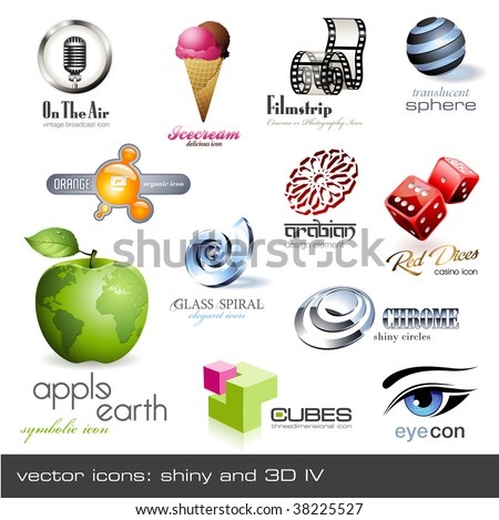 vector icons: shiny and 3d - set 4 - stock vector
