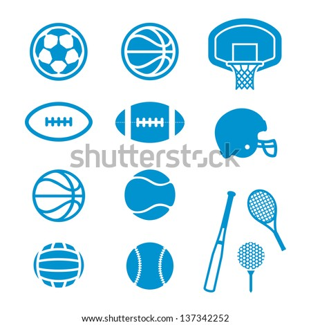 Vector icons Sports Equipment and Balls - stock vector