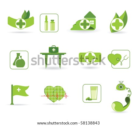 Vector icons to subjects medicine and first aid