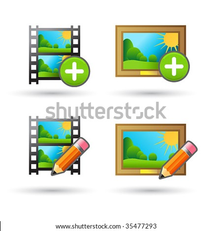 Vector icons upload and edit photo and video for web design - stock vector