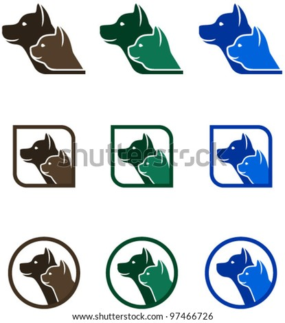 vector icons with animals - stock vector