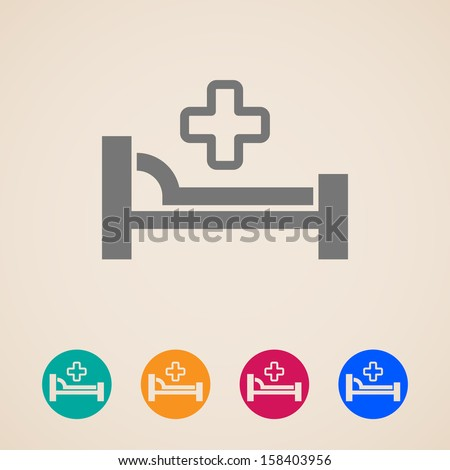 vector icons with bed and cross. hospital sign - stock vector