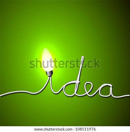 Vector idea concept illustration with light bulb - stock vector