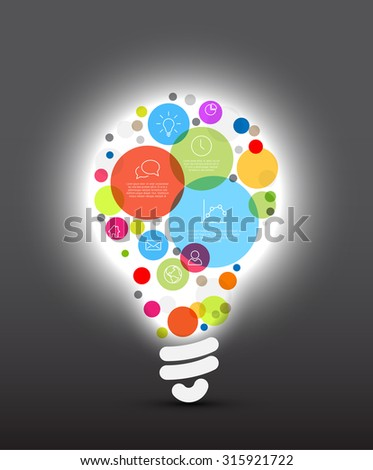 Vector idea Infographic template - circles with some content in the bulb shape - dark version - stock vector