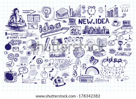 Vector idea sketch background with elements drawn with pen sketchs - stock vector