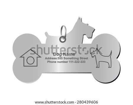 Vector identity tags for dog - stock vector