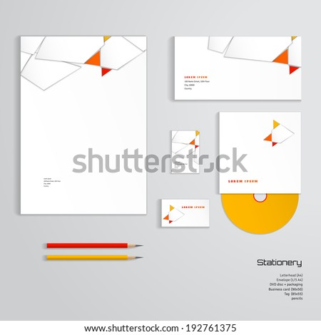 Vector identity templates letterhead envelope business stock vector vector identity templates letterhead envelope business card tag disc with packaging flashek Gallery