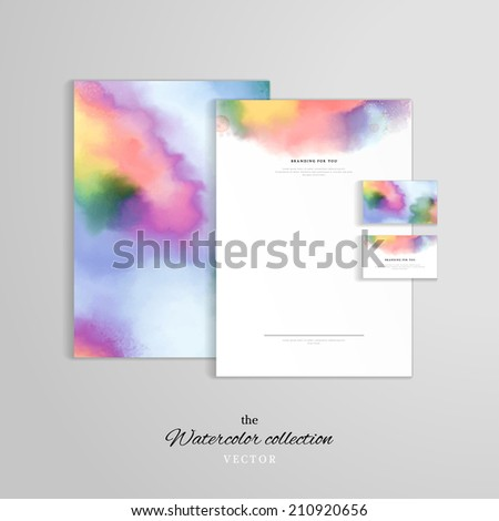 Vector identity templates. Letterhead, folder for documents, business card. Hand drawing watercolor. - stock vector