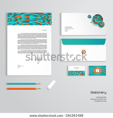 Vector identity templates multicolored geometric ornament stock vector identity templates multicolored geometric ornament letterhead envelope business card pencils flashek Gallery