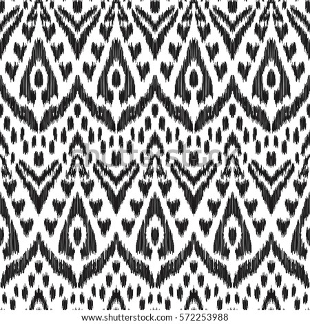 Vector Ikat Seamless Pattern Bohemian Ornament Fashion Textile Cloth Fabric Wallpaper