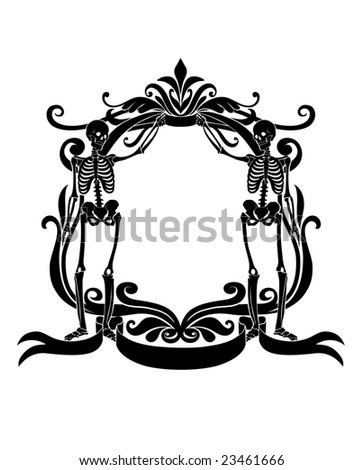 Vector Illuctration of floral frame with Decorative ornament and two fanky skeleton - stock vector