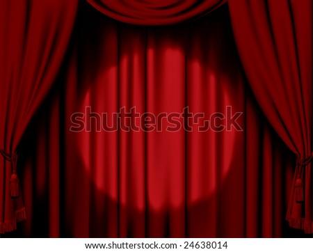 Vector illuminated red curtain - stock vector