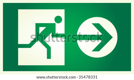 vector  illuminated sign for exit - stock vector