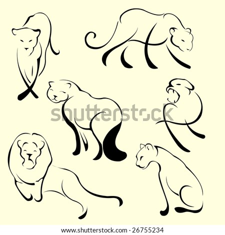Vector illustraition of Lion Design Set made with simple line only - stock vector