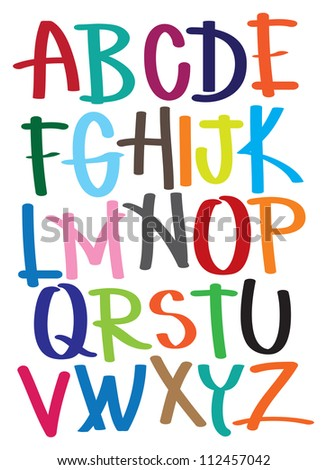 Vector illustrated alphabet from A to Z. - stock vector