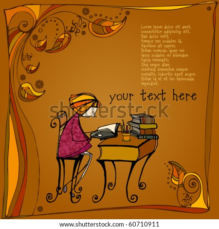 vector illustrated autumn background with cute little girl learning - stock vector
