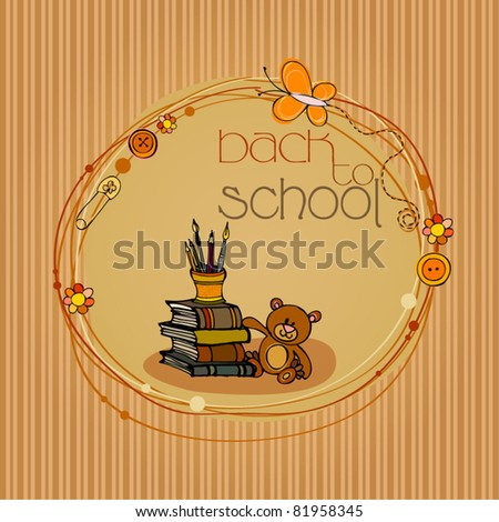 vector illustrated back to school background with books and teddy bear - stock vector