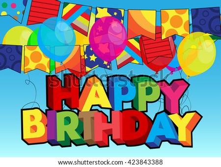 Vector Illustrated Cartoon Happy Birthday Card Stock Vector