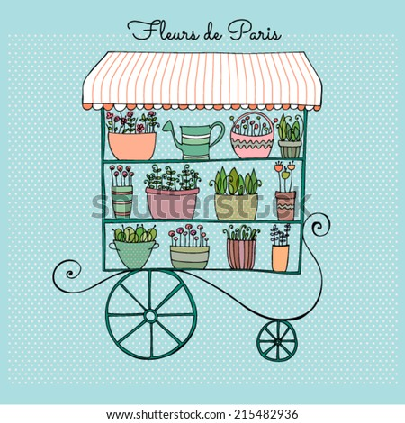 vector illustrated cute flower shop on wheels - stock vector
