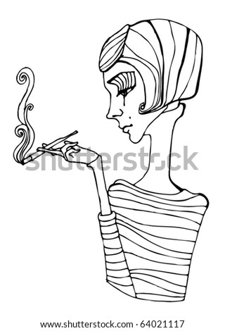 vector illustrated cute girl smoking