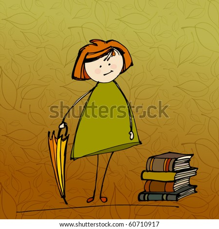 vector illustrated cute little girl with umbrella and books - stock vector
