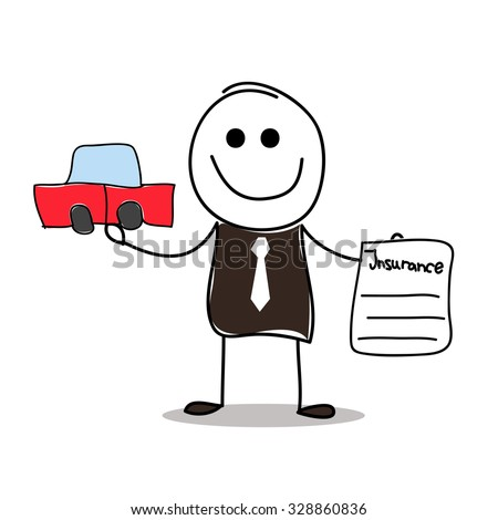 Vector illustrated insurance agent with car and insurance contract.