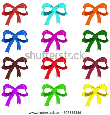 Vector illustrated set of bows isolated on white background. - stock vector
