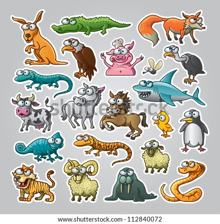 Vector illustrated set of various animals - stock vector