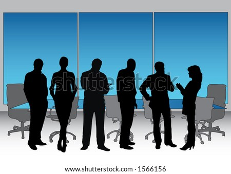 Vector illustrating executives and boardroom seating + table in the background. (all fully editable in illustrator) - stock vector
