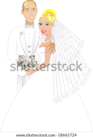 Vector Illustration. A beautiful bride and groom on their wedding day and a formal special occasion. Newly Weds 3. - stock vector