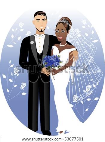 Vector Illustration. A beautiful bride and groom on their wedding day. Interracial Wedding Couple. Bride Groom 2 - stock vector
