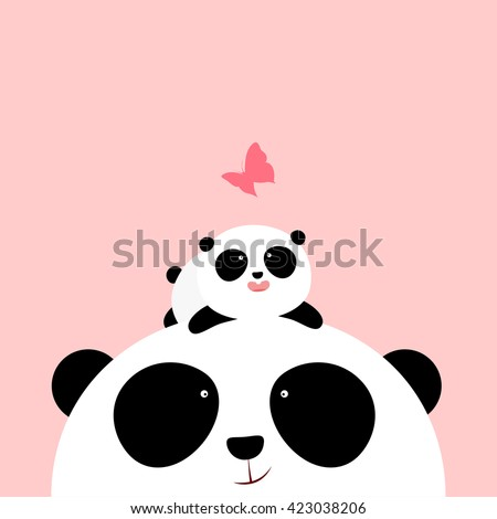 Vector Illustration: A cute cartoon little panda is lying on the head of his father / mother, looking at a butterfly. - stock vector