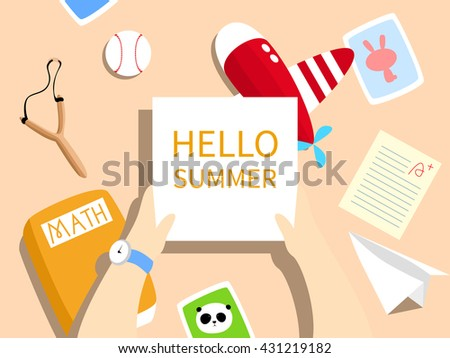 Vector Illustration: A desk with toy plane, paper plane, test paper, math textbook, photos, baseball, slingshot on it. A blank paper / card is held by a child's hands. For summer holiday / school out.